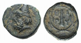 Troas, Birytis, c. 350-300 BC. Æ (11mm, 1.25g, 9h). Head of Kabeiros l., wearing pileos; two stars above. R/ Club within wreath. SNG Copenhagen 249. G...