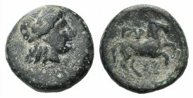 Troas, Gargara, 4th century BC. Æ (12mm, 2.02g, 12h). Laureate head of Apollo r. R/ Horse running r.; wreath below. SNG Copenhagen 316 var. (symbol); ...
