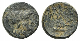 Troas, Ilion, c. 159-119 BC. Æ (12mm, 2.55g, 1h). Helmeted head of Athena r. R/ Athena Ilias advancing l., holding distaff and spear. SNG Copenhagen 3...