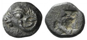 Troas, Kebren, 5th century BC. AR Obol (6.5mm, 0.54g). Head of ram l. R/ Incuse square with irregular divisions. SNG Ashmoleon 1076-7; cf. SNG München...