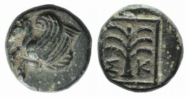 Troas, Skepsis, c. 400-310 BC. Æ (9mm, 1.35g, 1h). Forepart of Pegasos l. R/ Fir tree. SNG München 329; SNG Copenhagen 477. Green patina, VF
