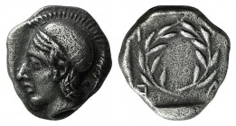Aeolis, Elaia, c. 450-400 BC. AR Diobol (9mm, 1.24g, 12h). Helmeted head of Athena l. R/ Laurel wreath within incuse square. SNG Copenhagen 166. Sligh...