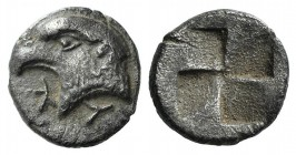 Aeolis, Kyme, c. 450-400 BC. AR Hemiobol (6.5mm, 0.47g). Head of eagle l.; retrograde K to l. R/ Quadripartite incuse square. SNG von Aulock 1623. Goo...