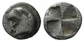 Aeolis, Kyme, c. 450-400 BC. AR Hemiobol (6mm, 0.45g). Head of eagle l.; K to l. R/ Quadripartite incuse square. Klein 333; SNG Copenhagen 31. VF