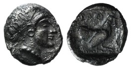 Lesbos, Methymna, c. 500/480-460 BC. AR Hemiobol (6mm, 0.27g, 12h). Female head r., hair bound in sakkos. R/ Cock standing right within incuse square....