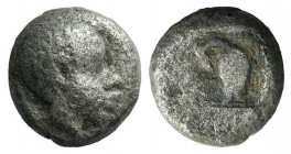 Lesbos, Unattributed early mint, c. 500-450 BC. BI Obol (7mm, 0.75g, 9h). Head of an African l. R/ Quadrapratite incuse square. HGC 6, 1088. Fine