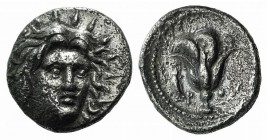 Islands of Caria, Rhodos. Rhodes, c. 250-229 BC. AR Didrachm (20mm, 6.50g, 12h). Mnasimachos, magistrate. Radiate head of Helios facing slightly r. R/...
