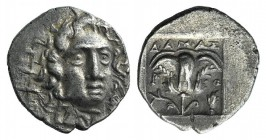Islands of Caria, Rhodos, Rhodes, c. 125-88 BC. AR Hemidrachm (11mm, 1.31g, 12h). Damas, magistrate. Radiate head of Helios facing slightly r. R/ Rose...