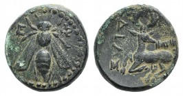 Ionia, Ephesos, c. 390-320/00 BC. Æ (14mm, 3.71g, 12h). Dias, magistrate. Bee. R/ Stag kneeling l. SNG Copenhagen 254-5 var. (magistrate). Green patin...