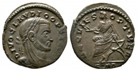 Divus Claudius II (died AD 270), Half Follis, Treveri, AD 318, 1.83g, 16mm. Laureate and veiled head right / Claudius seated left on curule chair, rai...