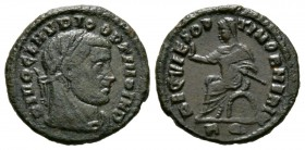 Divus Claudius II (died AD 270), Follis, Rome, 317-8, 3.34g, 18mm. Laureate and veiled head right / Claudius seated left on curule chair, raising hand...
