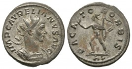 Aurelian (270-275), Radiate, Lugdunum, AD 275, 4.05g, 22mm. Radiate and cuirassed bust right / Sol advancing left, extending arm and holding whip; AL....