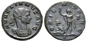 Aurelian (270-275), Radiate, Mediolanum, AD 274, 3.88g, 20mm. Radiate and cuirassed bust right / Sol standing facing, head left, raising hand and hold...