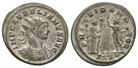 Aurelian (270-275), Radiate, Ticinum, AD 274, 4.90g, 23mm. Radiate and cuirassed bust right / Fides standing right, holding two standards and Sol stan...