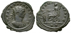 Aurelian (270-275), Radiate, Siscia, AD 271, 4.66g, 23mm. Radiate and cuirassed bust right / Fortuna seated left on wheel, holding rudder and cornucop...