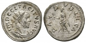 Tacitus (275-276), Radiate, Lugdunum, AD 275, 5.11g, 23mm. Radiate, draped and cuirassed bust right / Pax standing left, holding olive branch and scep...