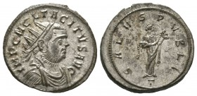 Tacitus (275-276), Radiate, Ticinum, AD 276, 4.37g, 22mm. Radiate, draped and cuirassed bust right / Salus standing right, feeding serpent held in her...