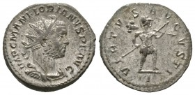Florian (AD 276), Radiate, Lugdunum, July AD 276, 4.32g, 22mm. Radiate, draped and cuirassed bust right / Virtus advancing right, holding spear and tr...