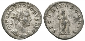 Probus (276-282), Radiate, Lugdunum, AD 276, 3.99g, 21mm. Radiate and cuirassed bust right / Felicitas standing left, holding sceptre and leaning on c...