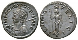 Probus (276-282), Radiate, Lugdunum, 277-8, 3.38g, 22mm. Radiate, helmeted and cuirassed bust left, holding spear and shield decorated horseman riding...
