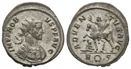 Probus (276-282), Radiate, Rome, AD 278, 3.12g, 22mm. Radiate and cuirassed bust right / Probus on horseback left, raising hand and holding sceptre; a...