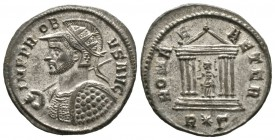 Probus (276-282), Radiate, Rome, AD 281, 4.40g, 23mm. Radiate, helmeted and cuirassed bust left, holding spear and shield / Roma seated facing, head l...