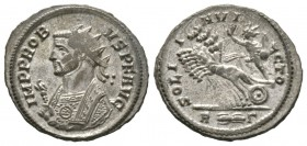 Probus (276-282), Radiate, Rome, AD 281, 3.76g, 22mm. Radiate and mantled bust left, holding eagle-tipped sceptre / Sol driving galloping quadriga lef...