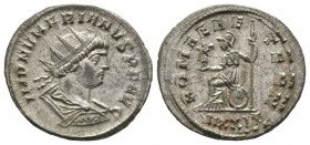 Numerian (283-284), Radiate, Ticinum, AD 283, 4.16g, 22mm. Radiate, draped and cuirassed bust right / Roma seated left on shield, holding Victory and ...