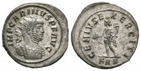 Carinus (283-285), Radiate, Rome, 4.18g, 23mm. Radiate and cuirassed bust right / Genius standing left, holding patera and cornucopia; KAA. RIC V 256....