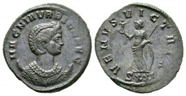Magnia Urbica (Augusta, 283-285), Antoninianus, Ticinum, c. summer AD 283, 3.35g, 23mm. Diademed and draped bust right, set on a crescent / Venus stan...