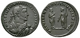 Diocletian (Senior Augustus, 305-311/2), Follis, Londinium, 305-7, 10.30g, 28mm. Laureate bust right, wearing imperial mantle, holding olive branch an...
