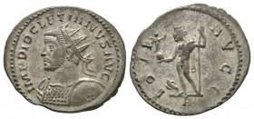 Diocletian (284-305), Radiate, Lugdunum, 290-2, 3.40g, 23mm. Radiate and cuirassed bust left, holding shield / Jupiter standing left, holding Victory ...