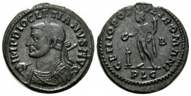 Diocletian (284-305), Follis, Lugdunum, 301-3, 9.38g, 29mm. Laureate and cuirassed bust left, holding sceptre over shoulder / Genius standing left, ho...