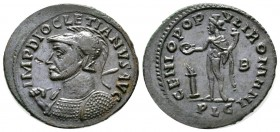 Diocletian (284-305), Follis, Lugdunum, 301-3, 8.27g, 30mm. Radiate, helmeted and cuirassed bust left, holding sceptre over shoulder / Genius standing...