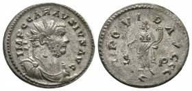Carausius (286-293), Radiate, 'C' mint, 4.30g, 22mm. Radiate, draped and cuirassed bust right / Providentia standing left, holding globe and cornucopi...