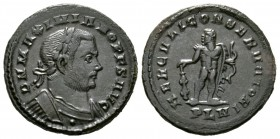 Maximianus (Senior Augustus, 305-307), Follis, Londinium, AD 307, 8.75g, 25mm. Laureate and cuirassed bust right / Hercules standing facing, head left...