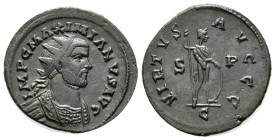 "Maximianus (286-305), Radiate, ""C"" mint, 4.25g, 24mm. IMP C MAXIMIANVS AVG, Radiate and cuirassed bust right / VIRTVS AVGGG, Virtus standing right, ho..."