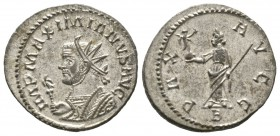 Maximianus (286-305), Radiate, Lugdunum, 290-1, 3.83g, 23mm. Radiate and mantled bust left, holding eagle-tipped sceptre / Pax standing facing, head l...