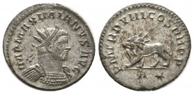 Maximianus (286-305), Radiate, Lugdunum, AD 293, 4.33g, 22mm. Radiate and cuirassed bust right / Lion walking left, holding thunderbolt in mouth; A-st...