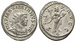 Maximianus (286-305), Radiate, Lugdunum, 290-4, 4.35g, 24mm. Radiate, draped and cuirassed bust right / Salus standing right, feeding serpent in arms;...