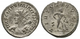 Maximianus (286-305), Radiate, Lugdunum, 287-9, 4.27g, 22mm. Radiate bust left, holding club over shoulder and lion skin / Hercules standing right wit...