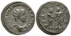Maximianus (286-305), Radiate, Lugdunum, 287-9, 2.99g, 21mm. IMP C VAL MAXIMIANVS PF AVG, Radiate, draped and cuirassed bust right / VIRTVS AVGG, Jupi...
