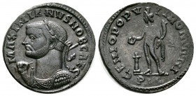 Maximianus (286-305), Follis, Lugdunum, 301-3, 8.60g, 28mm. Laureate and cuirassed bust left, holding sceptre over right shoulder and shield / Genius ...