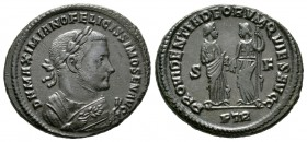 Maximianus (Senior Augustus, 305-307), Follis, Treveri, 305-306, 9.85g, 28mm. Laureate and mantled bust right, holding olive-branch and mappa / Provid...