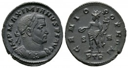 Maximianus (Senior Augustus, 305-307), Half Follis, Treveri, AD 307, 5.89g, 26mm. Laureate and cuirassed bust right / Genius standing left, holding pa...