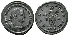 Maximianus (Second reign, 307-308), Follis, Treveri, 8.04g, 29mm. Laureate and cuirassed bust right / Genius standing left, holding patera and cornuco...