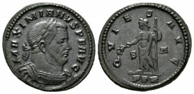 Maximianus (Second reign, 307-308), Follis, Treveri, 6.90g, 27mm. Laureate and cuirassed bust right / Quies standing left, holding branch and sceptre;...