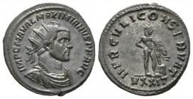 Maximianus (286-305), Radiate, Ticinum, 285-8, 4.27g, 23mm. Radiate, draped and cuirassed bust right / Hercules standing right, leaning on club; VXXIT...