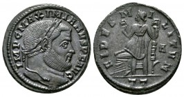 Maximianus (286-305), Follis, Ticinum, AD 305, 10.43g, 27mm. Laureate head right / Fides seated left, holding standard in each hand; A//PT. RIC VI 55b...