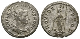 Constantius I (305-306), Radiate, Lugdunum, AD 295, 3.90g, 23mm. Radiate, draped and cuirassed bust right / Providentia standing left, holding baton a...